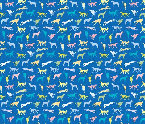 Salukis BLUE fabric by gryphonart on Spoonflower - custom fabric