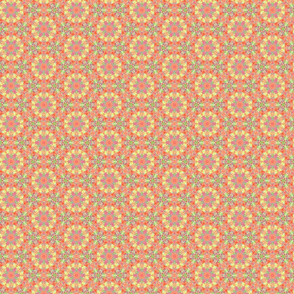Flower Star Pattern in Oranges, Pinks and Yellows