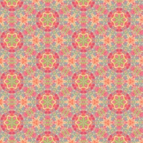 Flowered Circle Pattern in Pinks, Oranges and Purples
