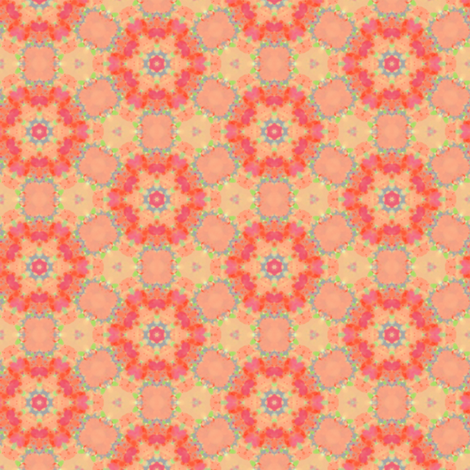 Orange & Peach Circle Flower Pattern fabric by lauriekentdesigns on Spoonflower - custom fabric