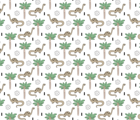 Super cute palm trees and dinosaurs illustration indian summer theme for kids mint beige fabric by littlesmilemakers on Spoonflower - custom fabric
