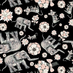 ELEPHANT MOUSE FLOWERS SCATTERED BLACK
