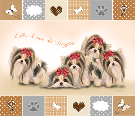 Biewer/Parti/Yorkie Live, Love & Doggies Quilt Panel fabric by catialee on Spoonflower - custom fabric