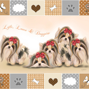 Biewer/Parti/Yorkie Live, Love & Doggies Quilt Panel
