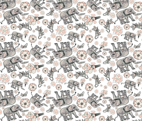 ELEPHANT MOUSE FLOWERS SCATTERED WHITE fabric by paysmage on Spoonflower - custom fabric