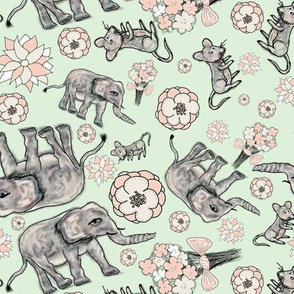 ELEPHANT MOUSE FLOWERS ALMOND GREEN