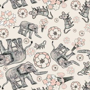 ELEPHANT MOUSE FLOWERS SCATTERED CREAM