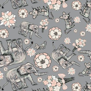ELEPHANT MOUSE FLOWERS SCATTERED Grey gray