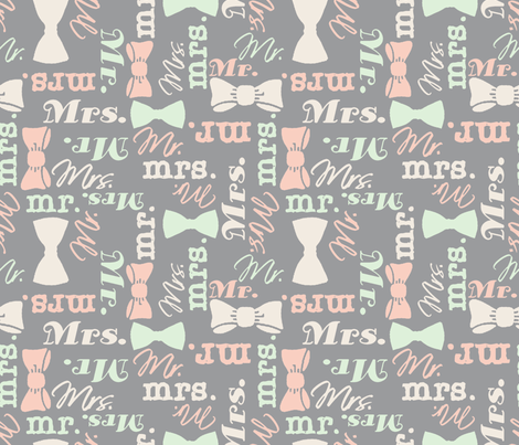 mr and mrs peach and green by Diane Gilbert fabric by diane_gilbert on Spoonflower - custom fabric