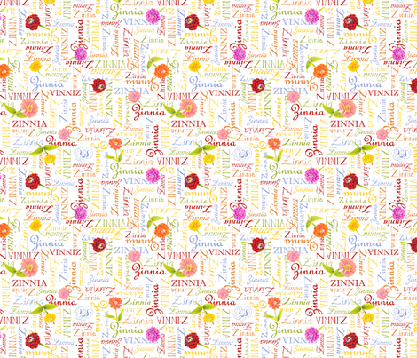 Sunbow Zinnia Words fabric by blairfully_made on Spoonflower - custom fabric