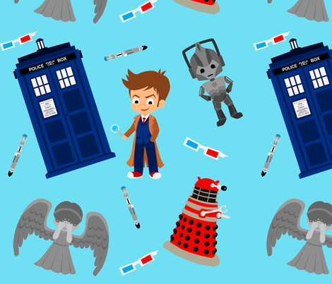 Who Defends Earth fabric by geeklyyours on Spoonflower - custom fabric