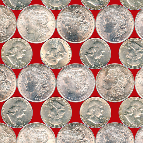 Dean's Silver Dollars and Halves fabric by midcoast_miscellany on Spoonflower - custom fabric