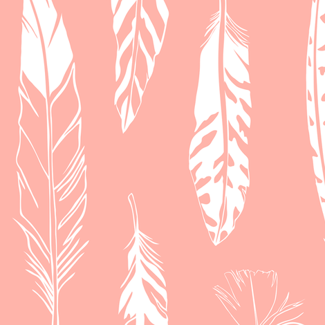 Feathers_Coral Pink fabric by cherii on Spoonflower - custom fabric