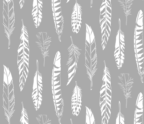 Feathers_Gray fabric by cherii on Spoonflower - custom fabric