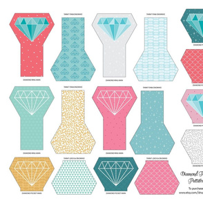 Diamond Teething Ring Pattern Pieces