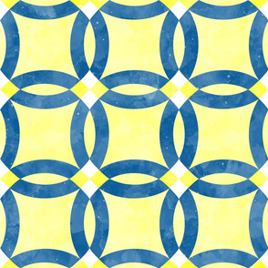 Cheater Quilt Double Wedding Ring Blue Yellow White