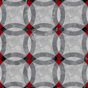 Cheater Quilt Double Wedding Ring red black grey