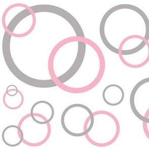 Pink Grey Gray Modern Geometric Circle