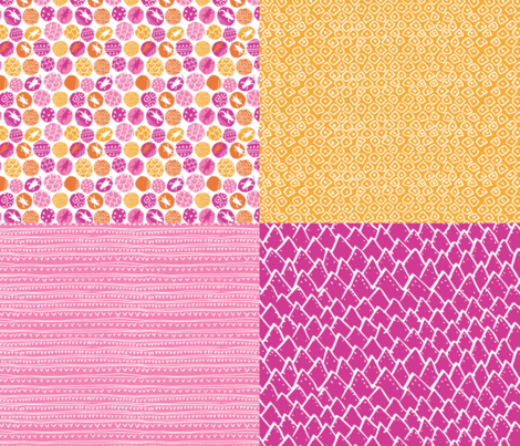 """Lively Lizard Coordinates - Pinks (42"""") fabric by tonia_dee on Spoonflower - custom fabric"""