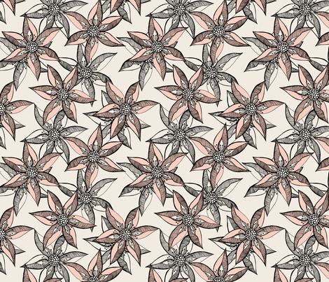 Love Blooms - Peach on Cream with Black fabric by rhondadesigns on Spoonflower - custom fabric