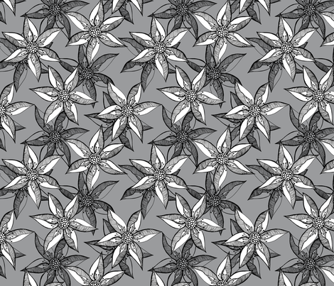 Love Blooms - Full White on Grey With Black fabric by rhondadesigns on Spoonflower - custom fabric