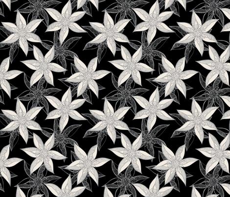 Love Blooms - Grey and Cream on Black fabric by rhondadesigns on Spoonflower - custom fabric