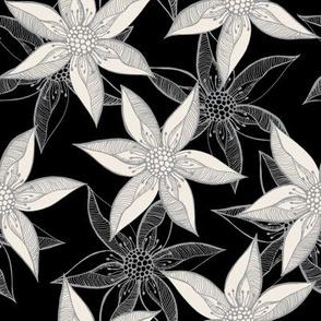 Love Blooms - Grey Cream on Black