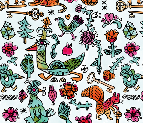 Lost keys fabric by ruusulampi on Spoonflower - custom fabric