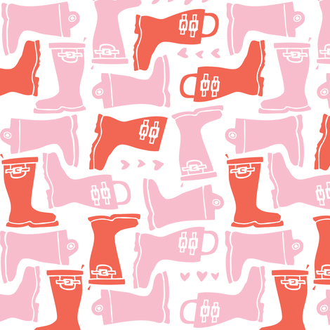 Girly Galoshes - Light Pink fabric by tonia_dee on Spoonflower - custom fabric