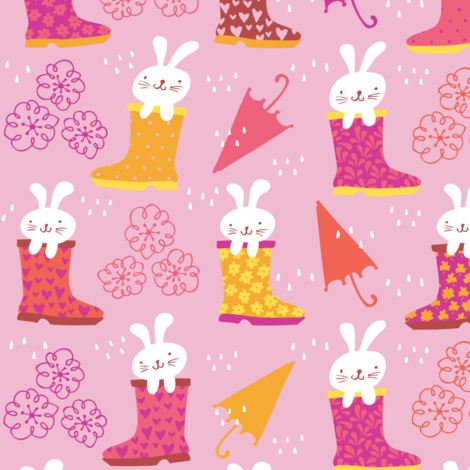 Bunnies in Rainboots - Playful Palette fabric by tonia_dee on Spoonflower - custom fabric