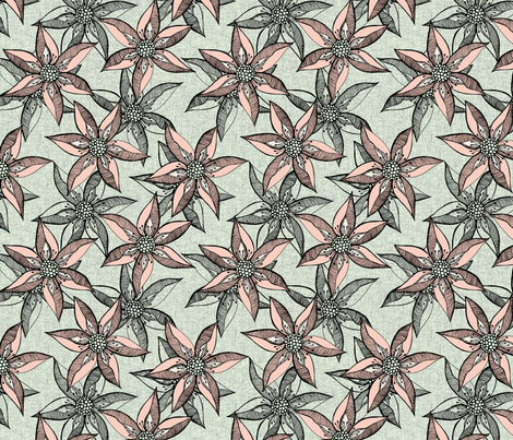 Love Blooms - Peach with Cream and Black fabric by rhondadesigns on Spoonflower - custom fabric