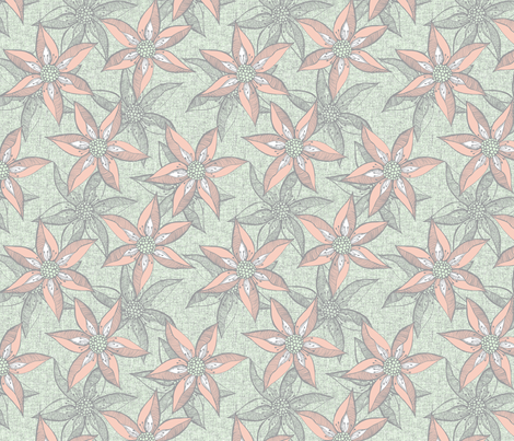 Love Blooms - Peach and  White with Grey on Linen Texture fabric by rhondadesigns on Spoonflower - custom fabric