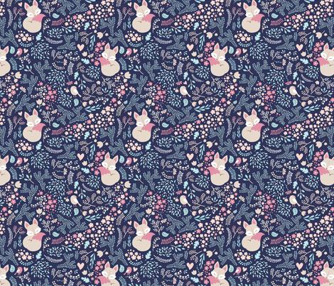 Sleeping Fox - Dark fabric by ewa_brzozowska on Spoonflower - custom fabric