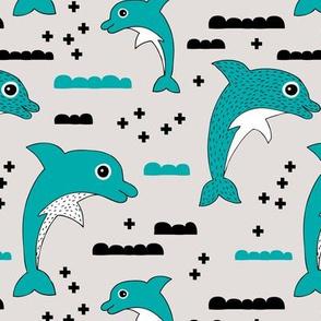 Geometric dolphin ocean theme for kids sea life in blue