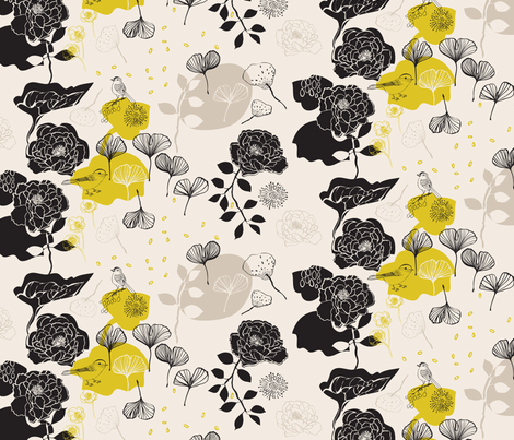 Chinoiserie Chic Birds Ivory fabric by els_vlieger on Spoonflower - custom fabric