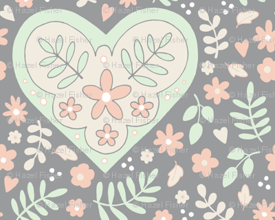 Hearts and Flowers - grey, cream, cucumber and peach