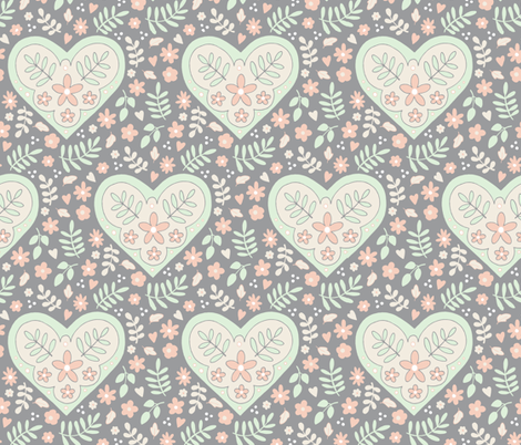 Hearts and Flowers - grey, cream, cucumber and peach fabric by hazelfishercreations on Spoonflower - custom fabric