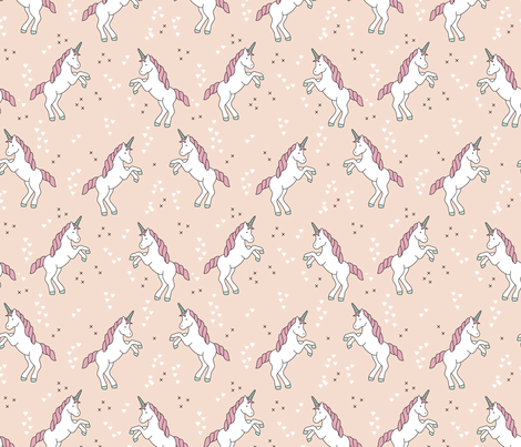 Unicorn love rainbow dreams girls fantasy horse in pastel beige coral pink fabric by littlesmilemakers on Spoonflower - custom fabric