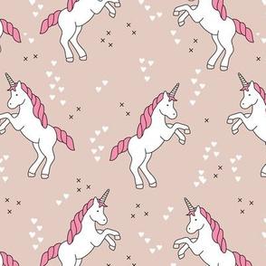 Unicorn love rainbow dreams girls fantasy horse in pastel beige pink
