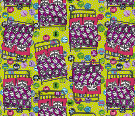 lead with bottle caps + bright dotty fabric by kheckart on Spoonflower - custom fabric