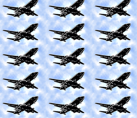 plane overhead with clouds bigger fabric by koalalady on Spoonflower - custom fabric