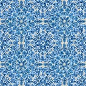Blue and Grey Folk Art Pattern