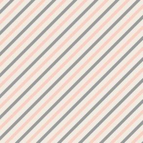Peaches & Gray Stripes On Cream