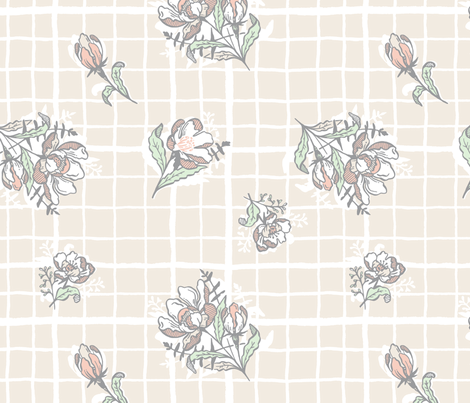 Floral Grid fabric by khubbs on Spoonflower - custom fabric