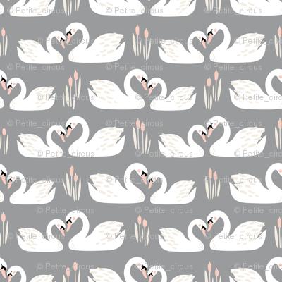 Swan Story // by petite_circus // cream blush pink gray white // wedding // cute kids baby nursery //