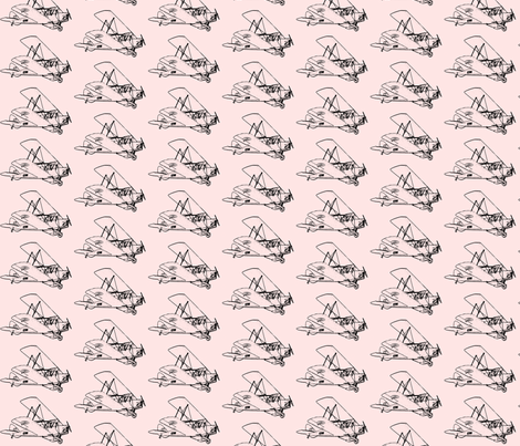 Vintage Plane-pink - smallest fabric by koalalady on Spoonflower - custom fabric