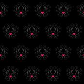 pink heart damask