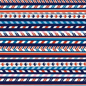 Airmail Stripes* (Jackie Blue) || postal service mail post par avion bird ribbon geometric chevron