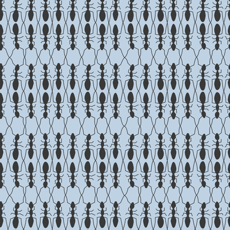 ants (blue) fabric by johannak on Spoonflower - custom fabric