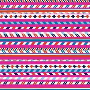 Airmail Stripes* (Pink Riot) || postal service mail post par avion bird ribbon geometric chevron